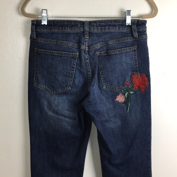 Free People Denim - Free People Jeans with Raw hem and Red rose design